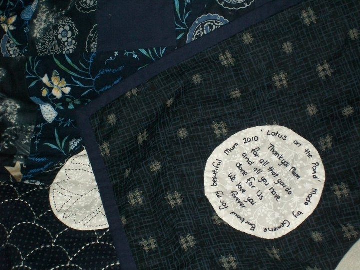label on th quilt I made my Mum