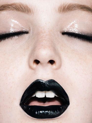 fashion, make-up, lips, lipstick, black