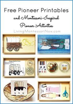 Long list of free pioneer printables plus ideas for using printables to prepare Montessori-inspired pioneer activities for preschoolers through 1st graders. Perfect for a pioneer unit study or Little House on the Prairie unit study.