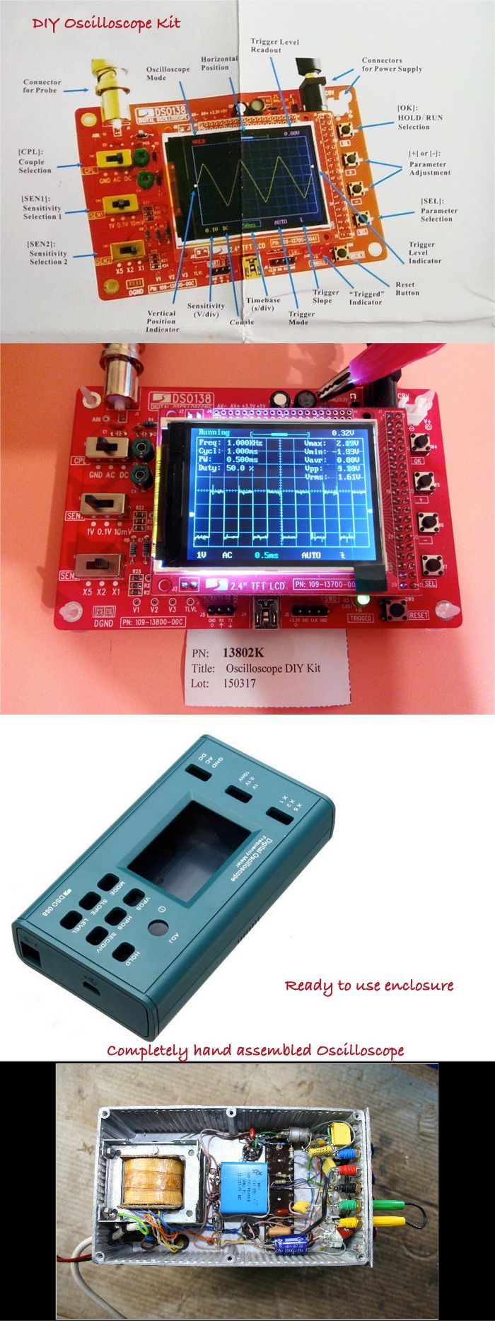They can be changed to Millivoltmeter, data loggers, and so on. Maximum real-time sampling rate of these kits are 1Msps and they can not tolerate more than 12V DC.