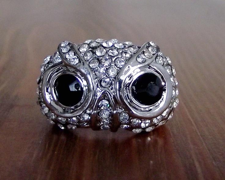 Crystal Owl Ring. $25.00, via Etsy.