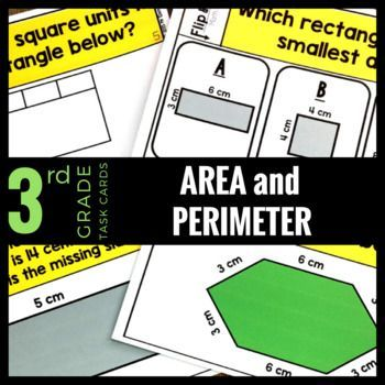 30 math task cards that reinforce 3rd grade common core math standards - Understand concepts of area and perimeter. ...