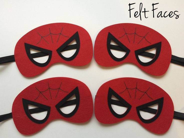 One set of 4 Spider-man party masks, one of each style shown in the photo. Each mask is made with premium felt, and has a black elastic band sewn to each side of the back. These adorable party masks a