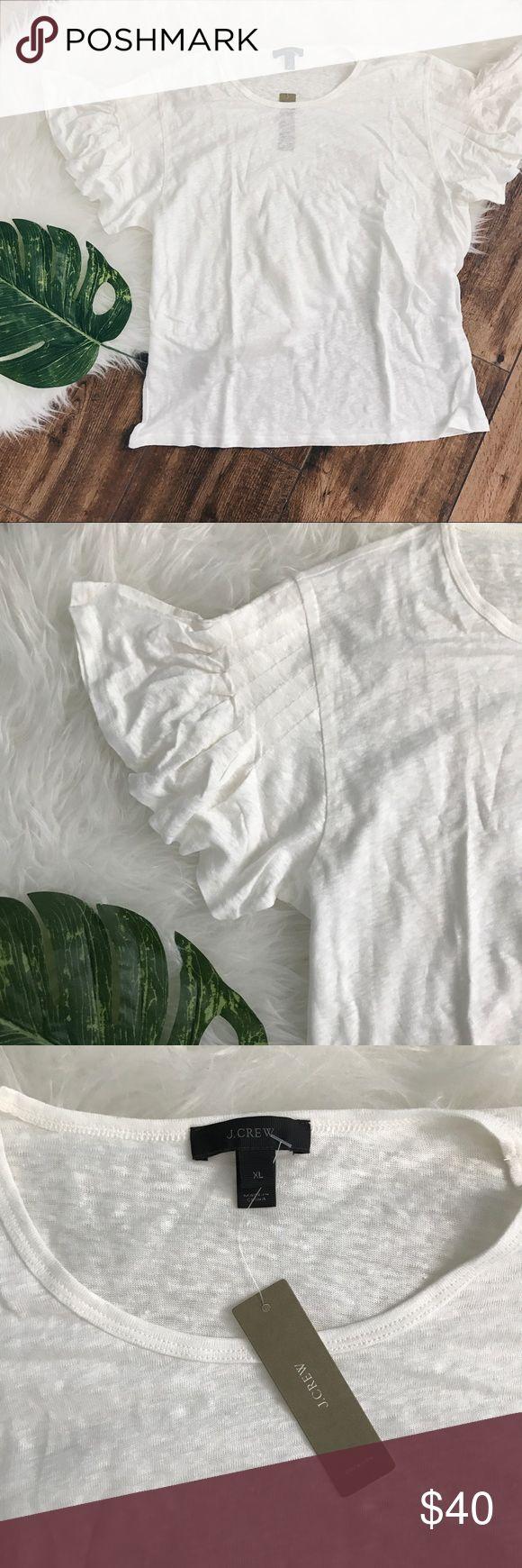 J Crew • New Cream Linen Flutter Ruffle Sleeve Tee NWT J Crew women's cream colored ruffle flutter sleeve shirt in size XL. 100% Linen.   No Trades!! 1104nr J. Crew Tops Tees - Short Sleeve