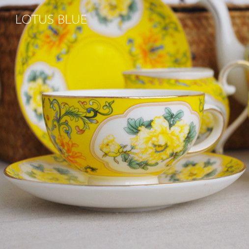 Gift Box Packed!Golden Trim Yellow 15pcs in 1 quality bone china English Breakfast Tea Cup Set With Gorgeous Peony Pattern(China (Mainland))