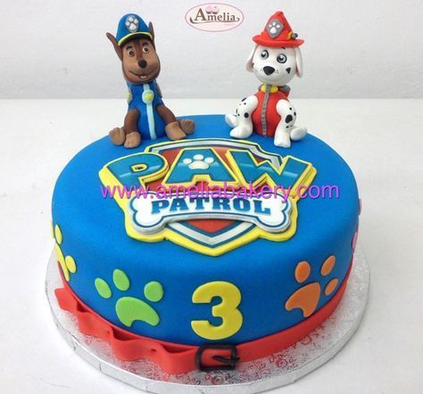 Tarta fondant patrulla canina paw patrol marshall y chase en 3d  Pasteles personalizados www.amelibakery.com