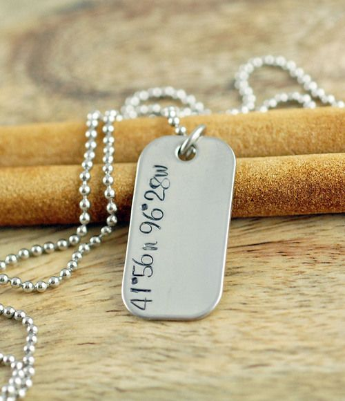 Mens Personalized Necklace, Custom Hand Stamped Necklace, Coordinate Necklace, Mens Dog Tag Necklace, Gifts for Him,