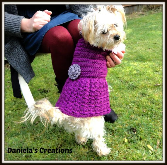 Crochet Dog Sweater Dress by Danielascreations on Etsy, $30.00