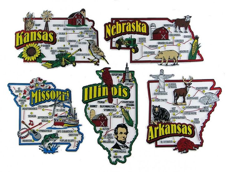ArkansasIllinoisKansasMissouriNebraska USA Map State Magnets - Arkansas usa map