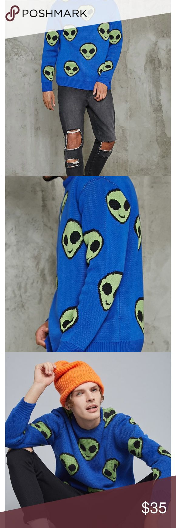 Alien Sweatshirt Oversized Urban Jumper New, without tag! Label is Forever 21, sized a men's Large - would be a OSFA for women or juniors. This sweater is totally rad, but a little too warm for California summer. Urban Outfitters Sweaters