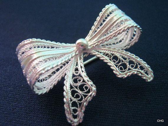 Handmade Sterling Silver Filigree Bow Brooch by TrulyFiligree