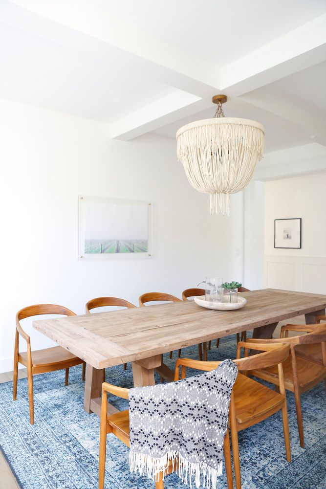 minimalist-meets-boho dining room - loved the muted blue rug!