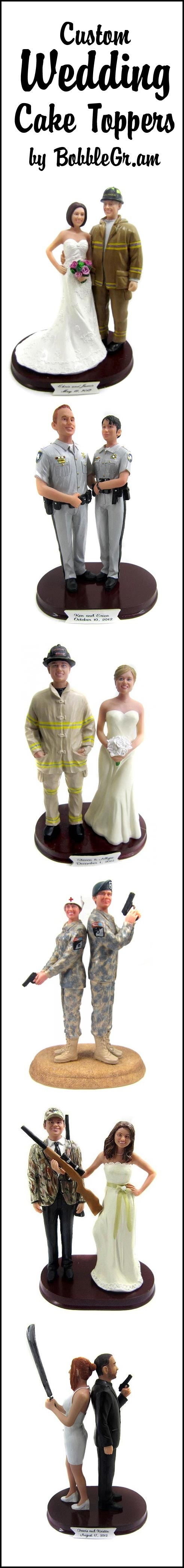 Custom cake toppers are sculpted to look like you! #fireflighters #police #military