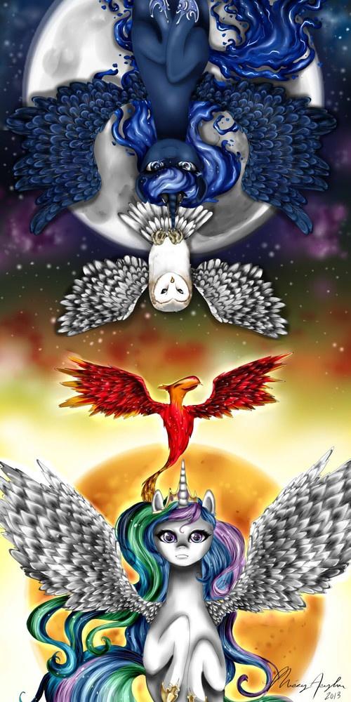 missyasylum owl philomena princess_celestia princess_luna