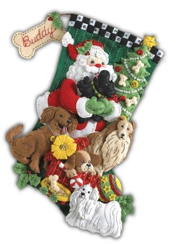 Santa Paws Bucilla Felt Applique Christmas Stocking Kit