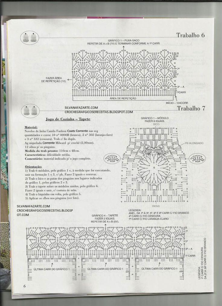 CROCHE GRAFICOS E RECEITAS: JOGO DE COZINHA