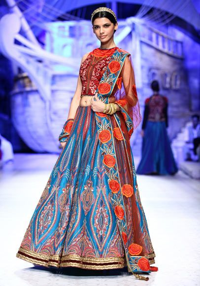 India Bridal Fashion Week 2013 jj valaya teal red lengha
