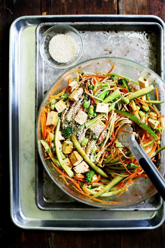 Cold Sesame Brown Rice Noodle Salad - Made this with soba noodles and veg I had on hand - shredded carrots, cucumber, green onion, & edamame.  Sauce is yummy - used a little less vinegar and added lime ... might try honey instead of sugar in future. Added avocado instead of tofu.  Easy to make substitutions!