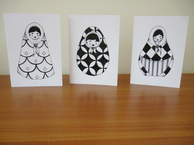 Russian Doll Cards - Folksy