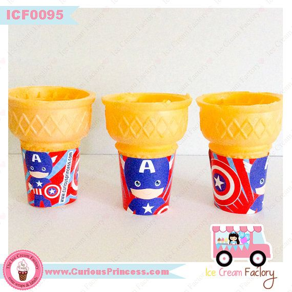 superhero captain boy birthday party wraps by IceCreamFactory, captain america capitan flat bottom ice cream cone wraps birthday party favors cupcake toppers wrappers sleeves jackets packaging unique ideas supplies candy table buffet by Curious Princess at www.InstaParties.com