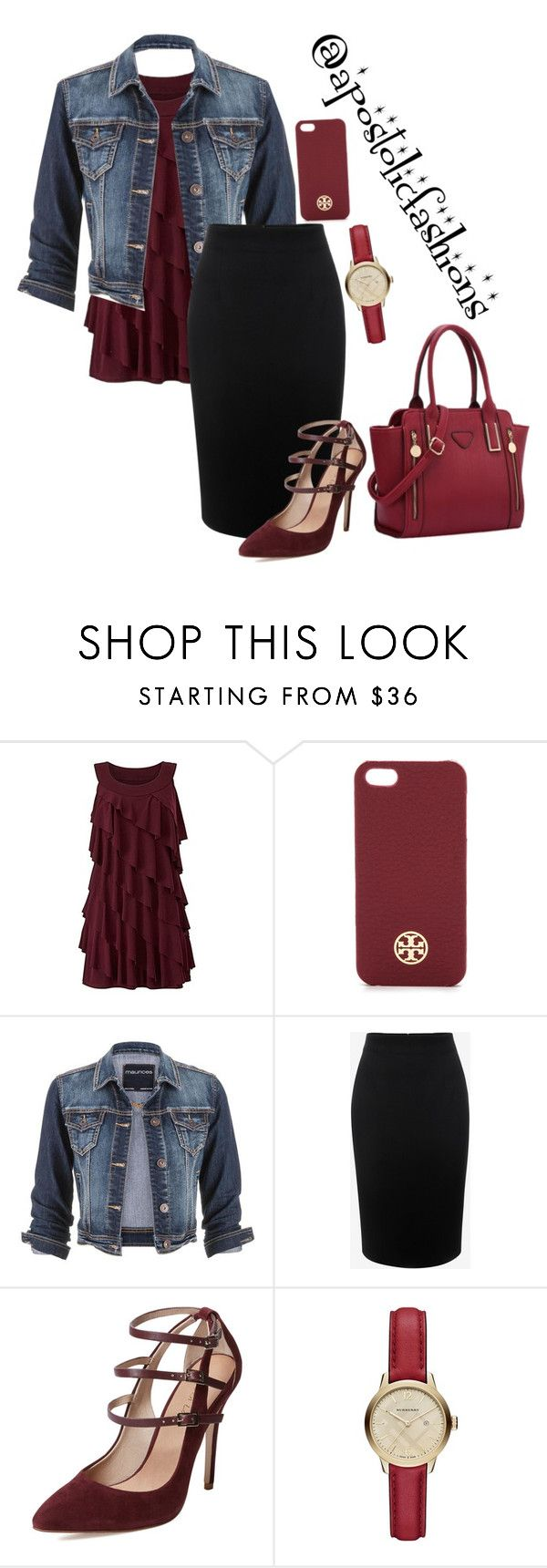 """""""Apostolic Fashions #1421"""" by apostolicfashions ❤ liked on Polyvore featuring Tory Burch, maurices, Alexander McQueen, Maiden Lane, Burberry, modestlykay and modestlywhit"""