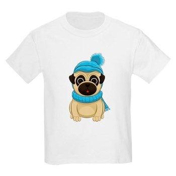 Winter Pug Kids Light T-Shirt from cafepress store: AG Painted Brush T-Shirts. #pug #Winter #kids