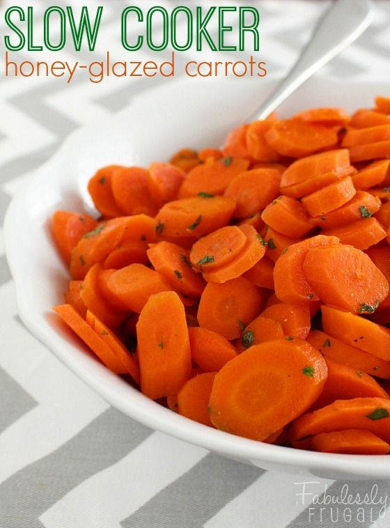 Slow Cooker Honey-Glazed Carrots Recipe. Set it and forget it! Easy, no fuss way to cook carrots in the crock-pot.