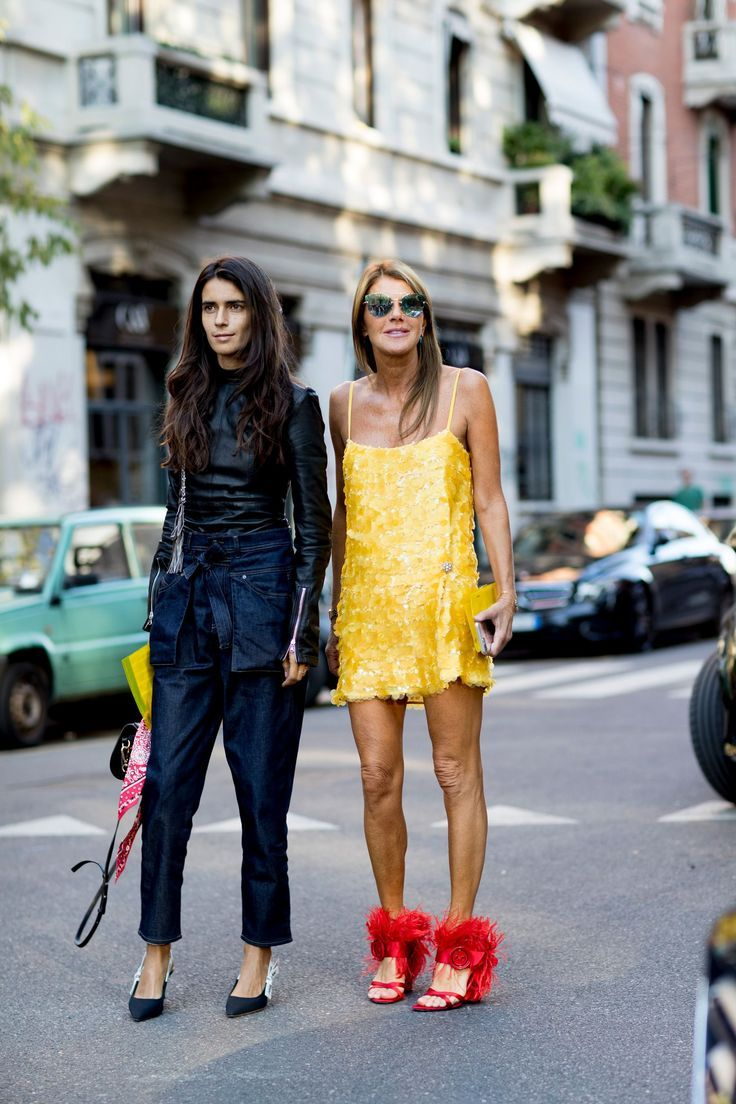 b28d41adeb84 Milan Fashion Week Street Style Spring 2018 Yellow dress and statement red  shoes