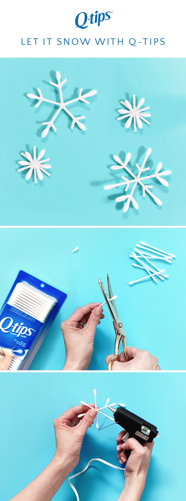 Here's an easy winter craft idea for kids from @LovelyIndeed. All you need is Q-tips cotton swabs, scissors, and hot glue. Q-tips cotton swabs have a flexible stick so they're strong enough to hang from a tree or frosted windowpane.