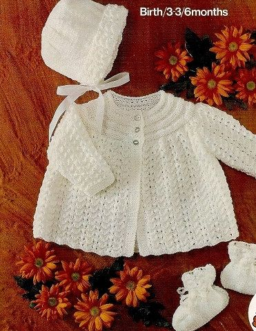 baby knitting pattern for vintage  baby  matinee jacket bonnet booties dk yarn birth to 6month