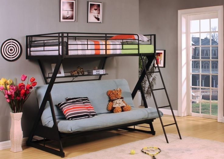 Amazon.com - Zazie Collection Twin Over Futon Bunk Bed in Black Metal with Book Shelf by Acme Furniture - Futon Bunk Bed Frames