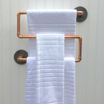 Industrial Copper Pipe Towel Rack, Towel Rod, Modern Industrial Steampunk Design, Modern Rustic Decor, Modern Bathroom Accessories, Man Cave