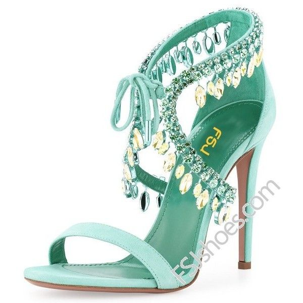 Beryl Green Paillette Crossed Ankle Straps Sandals ($75) ❤ liked on Polyvore featuring shoes, sandals, ankle tie sandals, ankle tie shoes, green sandals, ankle strap sandals and ankle strap shoes