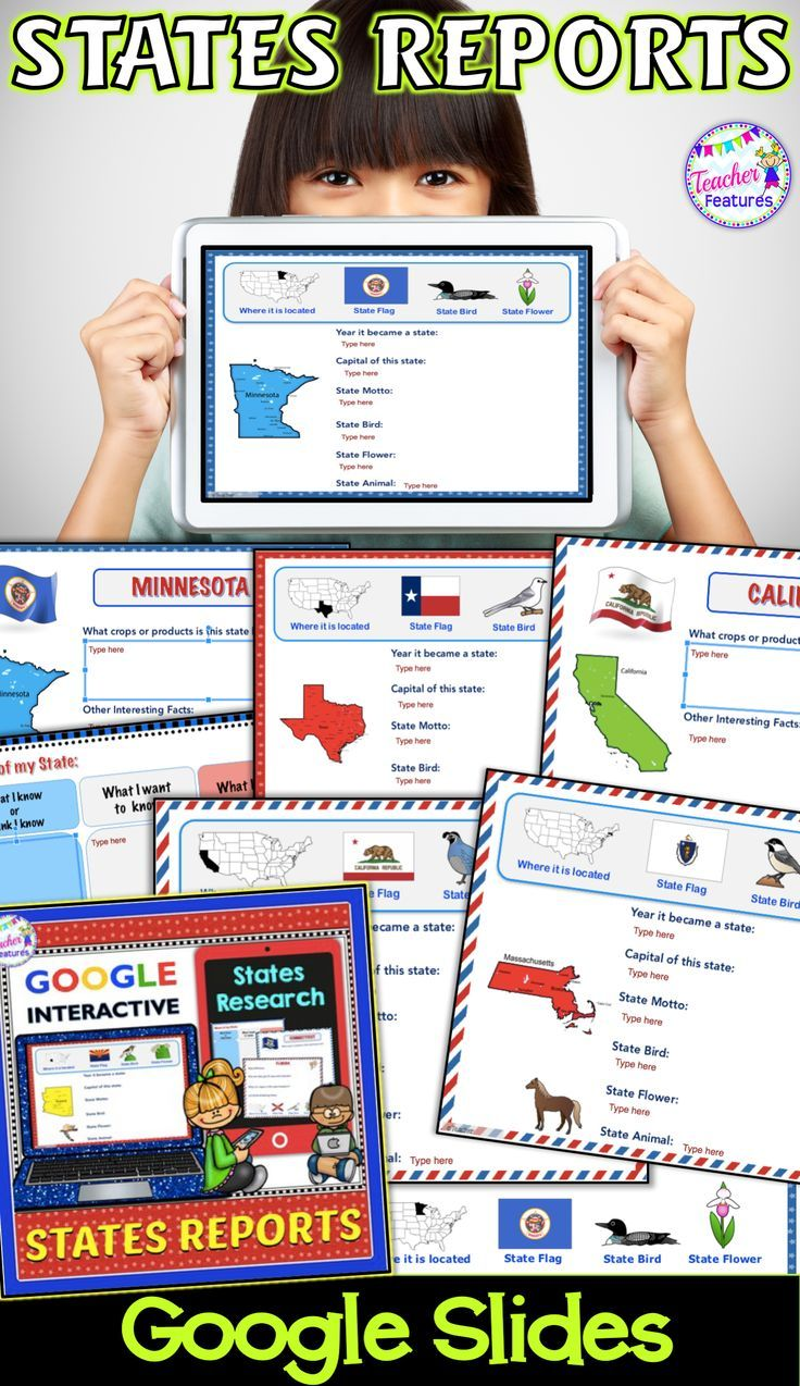 This digital states project for all 50 U.S. States is the answer to infusing technology into your classroom. Students will love researching facts for their state report. Click for more info! #StateReport #StatesResearch #SocialStudies #States #GoogleClassroom #GoogleSlides #Writing #WritingCenter #LiteracyCenter #ELA #2ndGrade #SecondGrade #3rdGrade #ThirdGrade #4thGrade  #FourthGrade #GoogleClassroom #GoogleSlides #NoPrep #TeacherFeatures #technologyintheclassroom