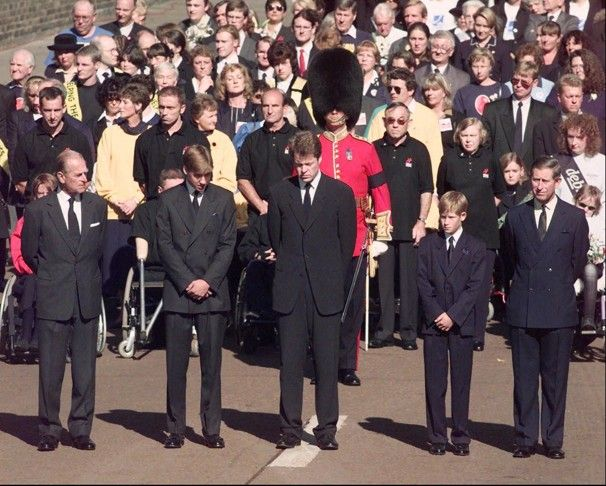 the funeral cortege, left to right: Prince Philip, Prince William, Earl Spencer, Prince Harry, Prince Charles, September 6, 1997