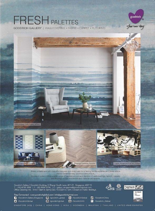 Goodrich Global featured in Singapore Interior Designers Showcase, Issue of October 2015. Wallcovering: Fade, Phillip Jeffries Fabric: Palmetto, Harlequin Flooring: Laminate, Parador Carpet: Renaissance of Art, Tuntex
