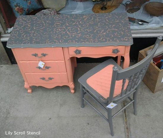 Gorgeous peach and grey refurbished desk with a lily scroll stencil