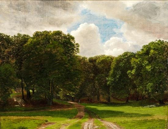 """P.C. Skovgaard (1817-1875): View of """"Ulvedalene"""" in Dyrehaven (The Deer Park) north of Copenhagen, 1861"""