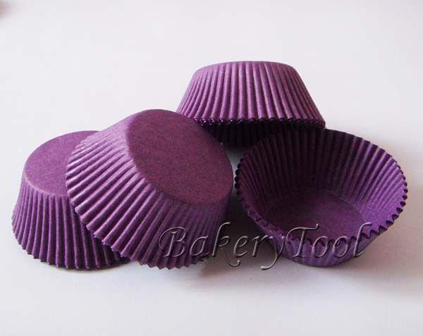 300 pcs élégante plaine couleur pourpre de qualité alimentaire tasse gâteau cas cupcake doublures de cuisson bac gâteau muffin tasses de papier