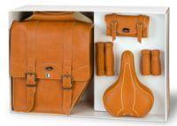 Satteltaschen für Fahrrad Set Vintage braun- Echtleder Optik