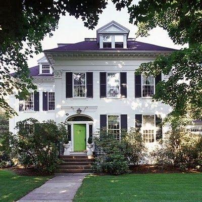 .: Red Doors, White Houses, The Doors, Green Doors, Dreams House, Black Shutters, Front Doors, Dream Houses, Doors Colors
