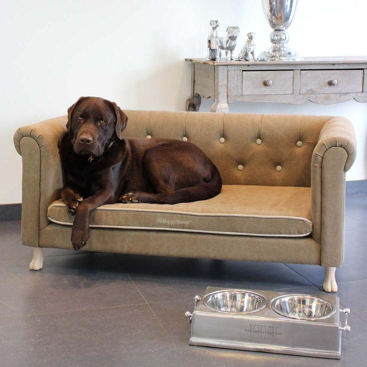 Deze hondenbank biedt uw hond een heerlijke plek om te relaxen. Gemaakt van een gewassen taupe kleur canvas met beige accenten. Om het helemaal af te maken is de bank voorzien van houten hondenpootjes!
