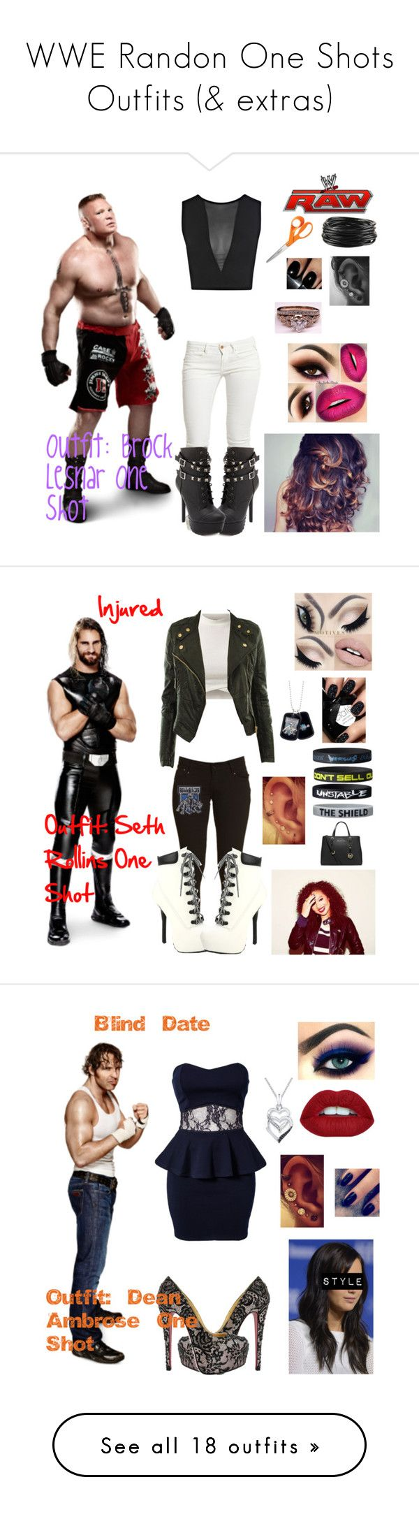 """WWE Randon One Shots Outfits (& extras)"" by queenreigns-916 ❤ liked on Polyvore featuring Miss Selfridge, Replay, Charlotte Russe, WWE, Forever 21, Fiskars, Etiquette, MICHAEL Michael Kors, Club L and Lottie"