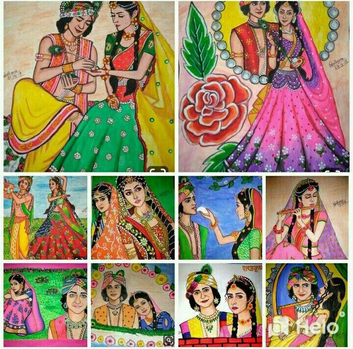 Adha Krishn Drawing In 2021 Cute Krishna Krishna Radha Painting Krishna Photos