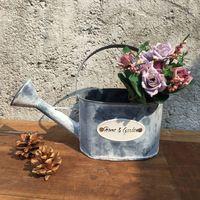 Цветок ванна цветочные горшки плантаторов украшения дома металлические горшки ведро воды поливает цветы ведро садово-паркового искусства дизайн урожай ретро
