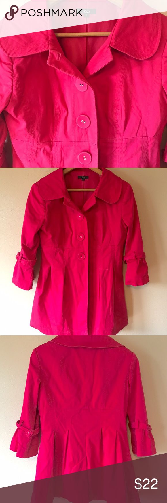 Lightweight Trench Coat Hot pink trench coat. Great condition, lightweight and comfortable material. I hate to see it go but it's just not the right fit for me. 🛍 Sele Jackets & Coats Trench Coats