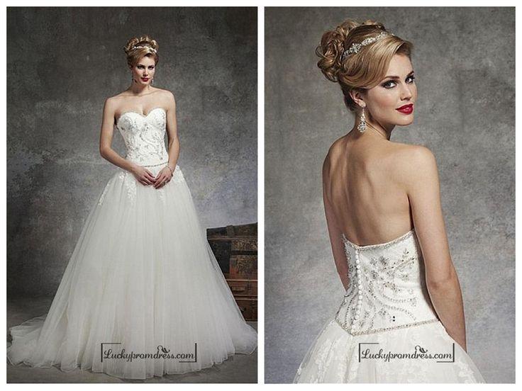 BEAUTIFUL SATIN & TULLE BALL GOWN SWEETHEART NECK DROPPED WAISTLINE WEDDING DRESS