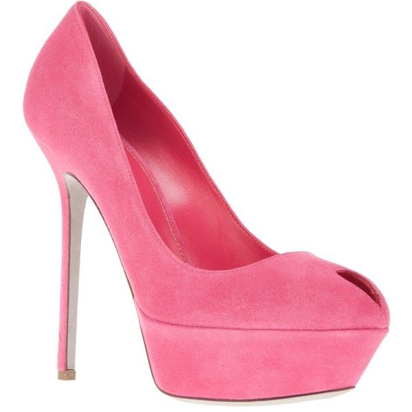 SERGIO ROSSI peep toe stiletto pump ($285) ❤ liked on Polyvore featuring shoes, pumps, heels, sapatos, high heels, scarpe, stiletto pumps, high heel court shoes, fuschia pumps and peeptoe pumps