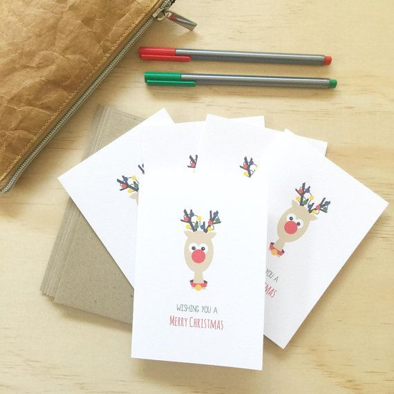 Christmas Card Pack - Reindeer with Christmas Lights - Set of 5 Cards - 5P016 - Wishing You a Merry Christmas