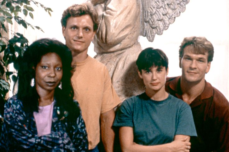 """Episode 101 - July Summer Blockbusters. """"Ghost"""" promo still, 1990. L to R: Whoopi Goldberg, Tony Goldwyn, Demi Moore, Patrick Swayze. Released on July 13, 1990, this movie was expected to earn back its budget of $22 million amid a summer chock full of blockbusters.  However, the reviews and word of mouth propelled this film to sell 51 million tickets and a gross of $217 million dollars. It held the top spot until December when """"Home Alone"""" outgrossed the movie, placing """"Ghost"""" at number two."""